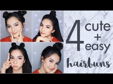 image of: 4 Easy and Cute Hair Buns Tutorial for School or Hangout | Tumblr Inspired [ENG Subs]